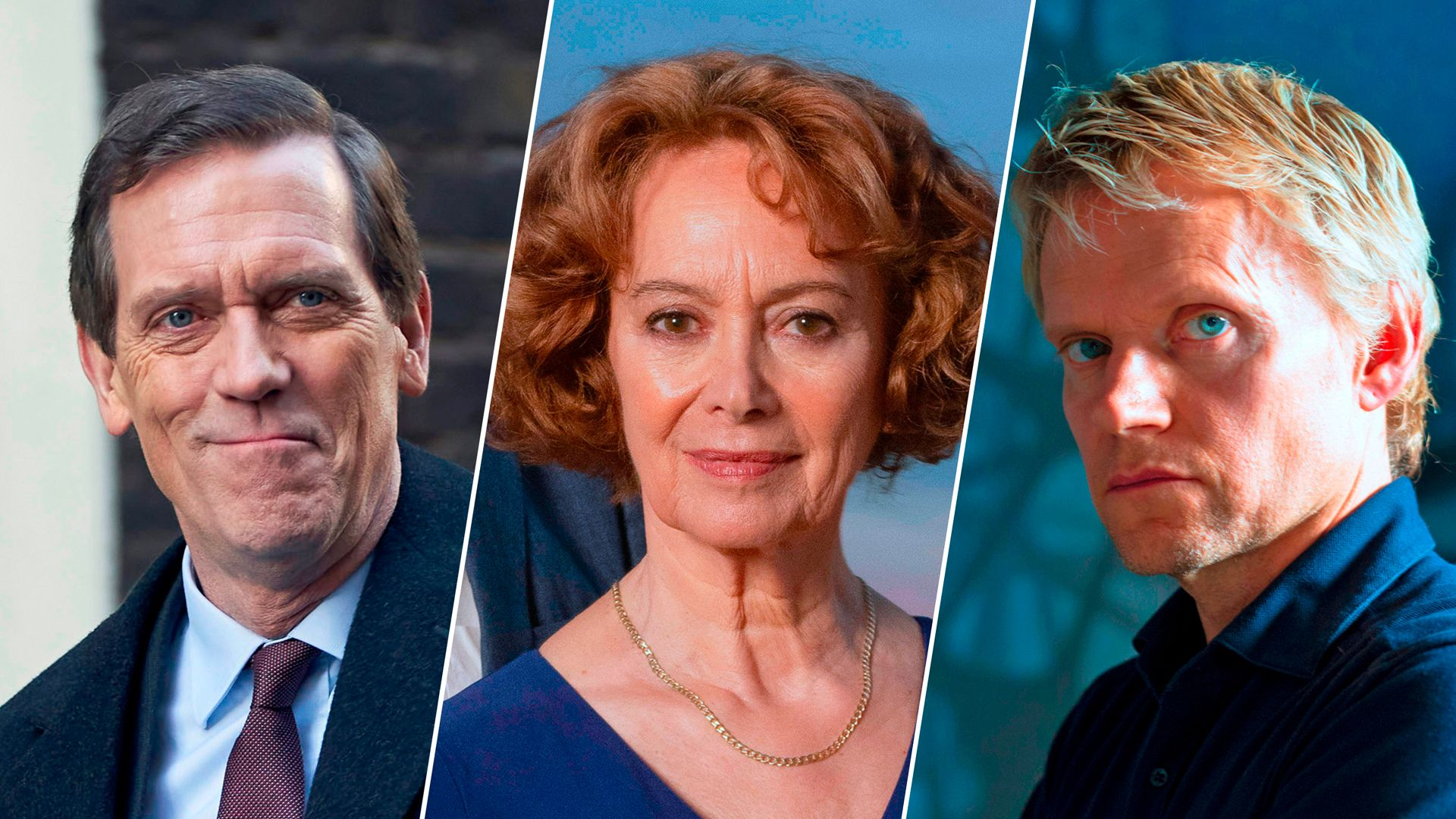 Hugh Laurie, Francesca Annis and Mark Warren on MASTERPIECE on PBS, Fall 2020