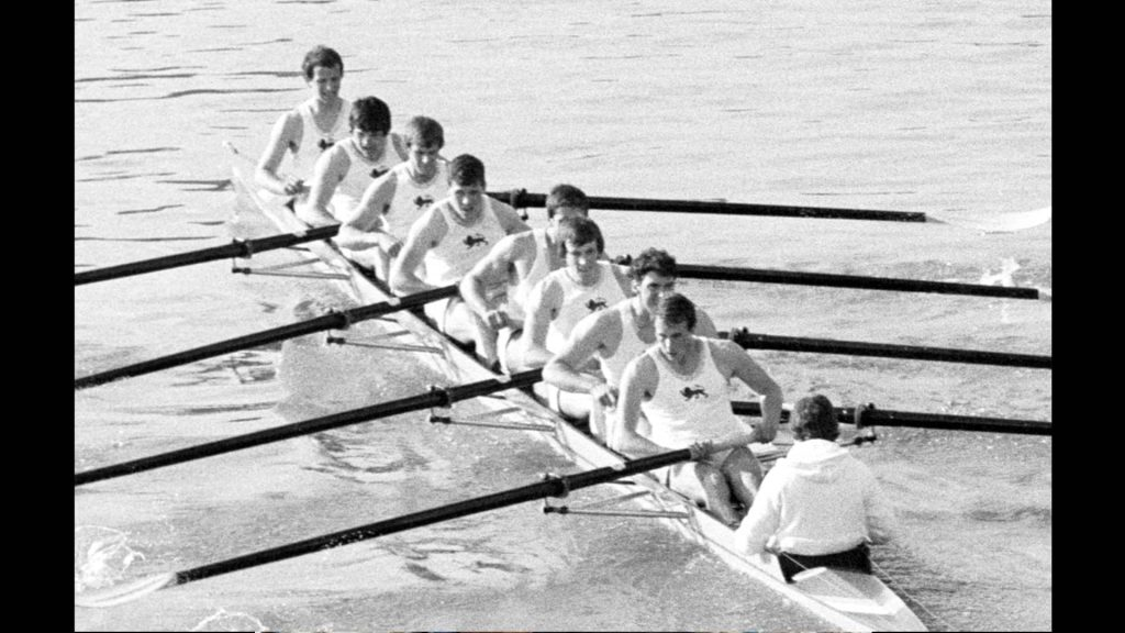 Hugh Laurie in the 1980 Boat Race rowing for Cambridge