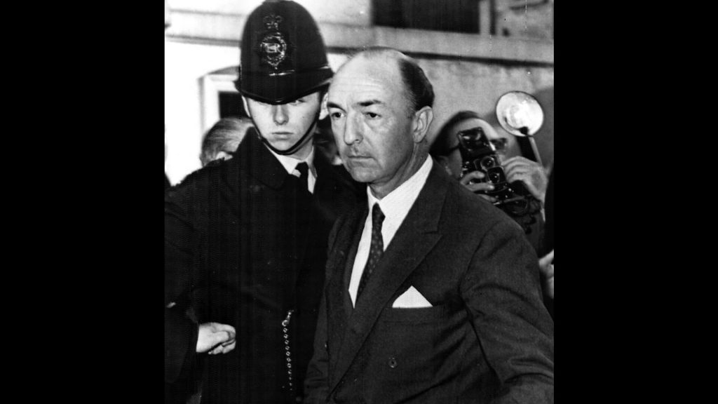 British Minister of War John Profumo retuns home after admitting an affair with Christine Keeler, June 18, 1963.