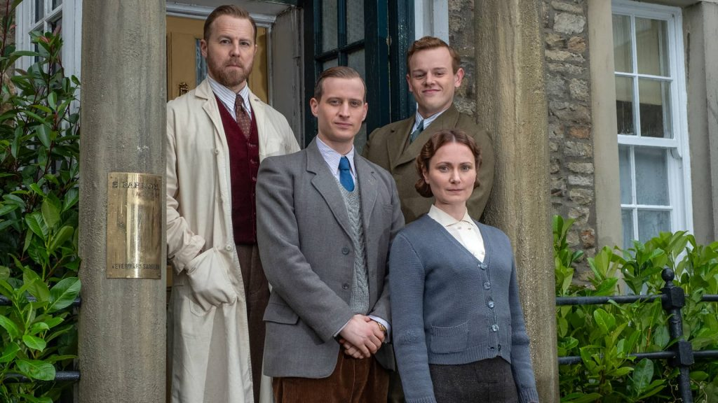 Samuel West, Nicholas Ralph, Callum Woodhouse and Anna Madely in All Creatures Great and Small on MASTERPIECE