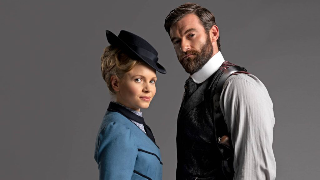 Kate Phillips and Stuart Martin in Miss Scarlet & The Duke on MASTERPIECE on PBS