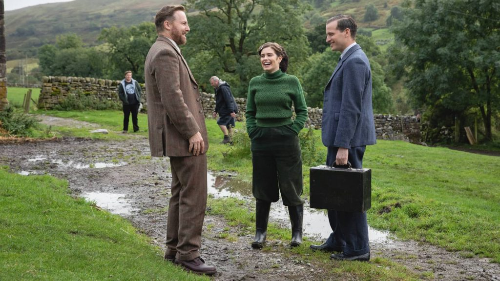 Samuel West, Rachel Shenton and Nicholas Ralph behind the scenes of All Creatures Great and Small as seen on MASTERPIECE on PBS