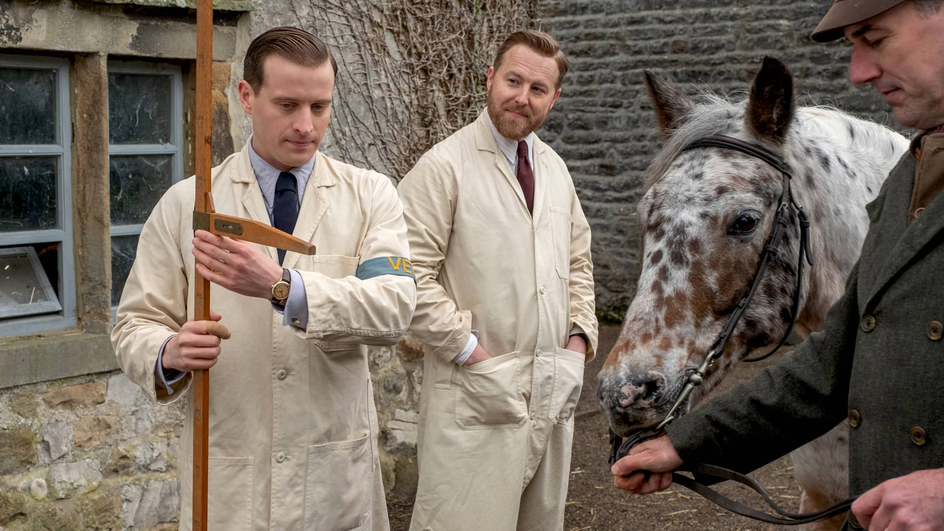 Nicholas Ralph and Samuel West in All Creatures Great and Small on Masterpiece on PBS