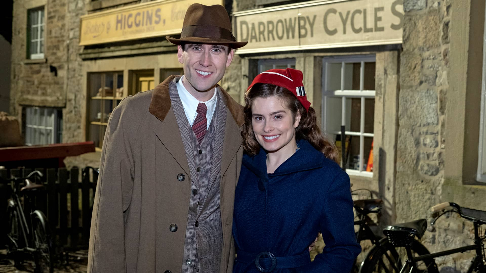Matthew Lewis and Rachel Shenton behind the scenes in All Creatures Great and Small on Masterpiece on PBS