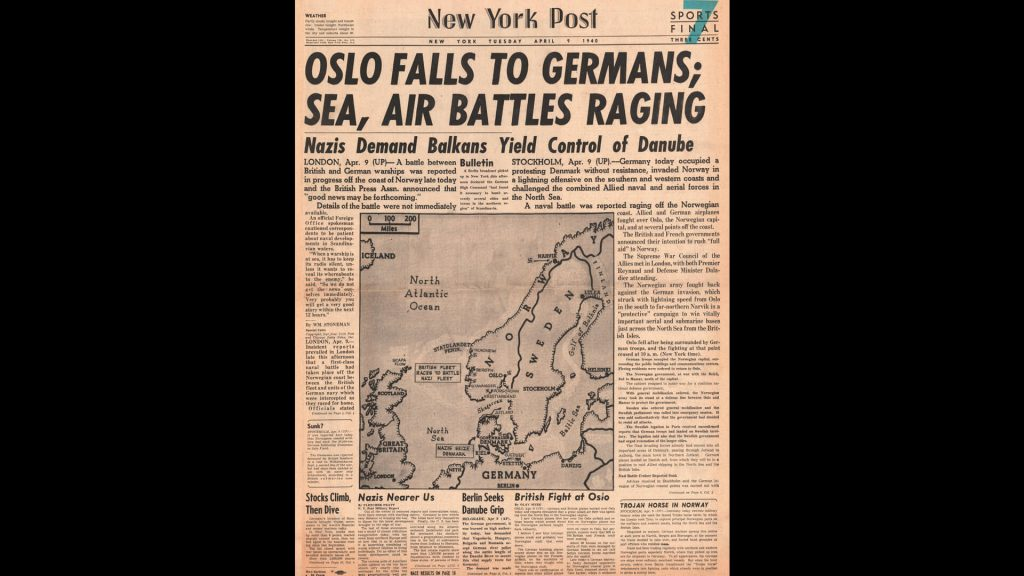 1940 New York Post front page reporting Germany invades Norway and Denmark