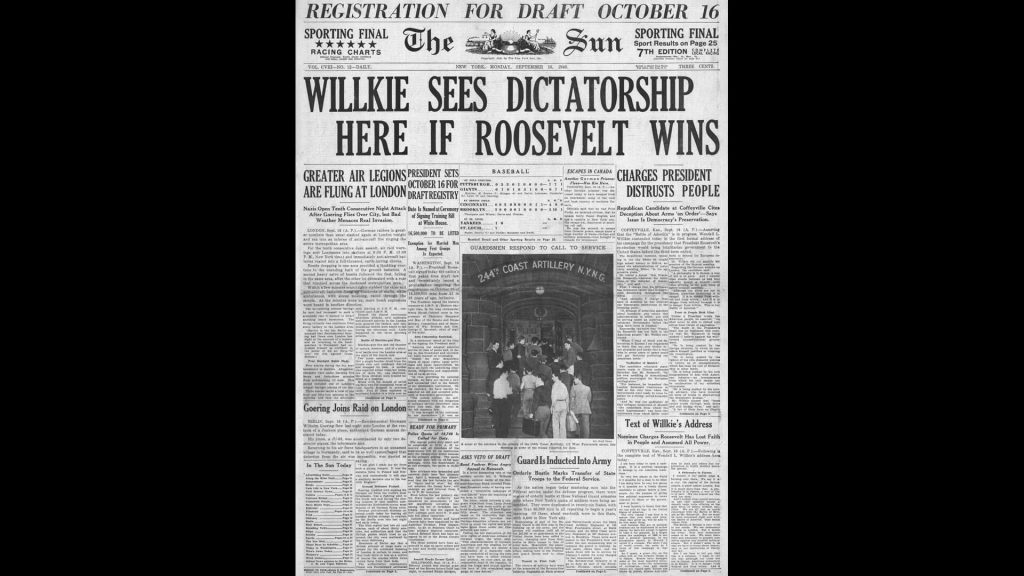 1940 front page The Sun (New York) Wendell Willkie sees dictatorship if Roosevelt wins election