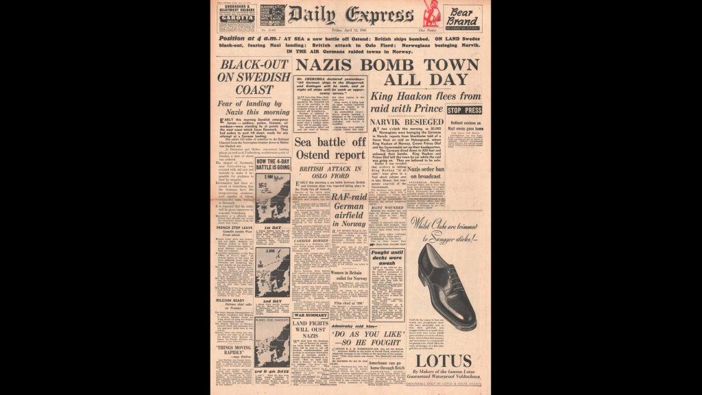 Daily Express newspaper headlines from April 12, 1940