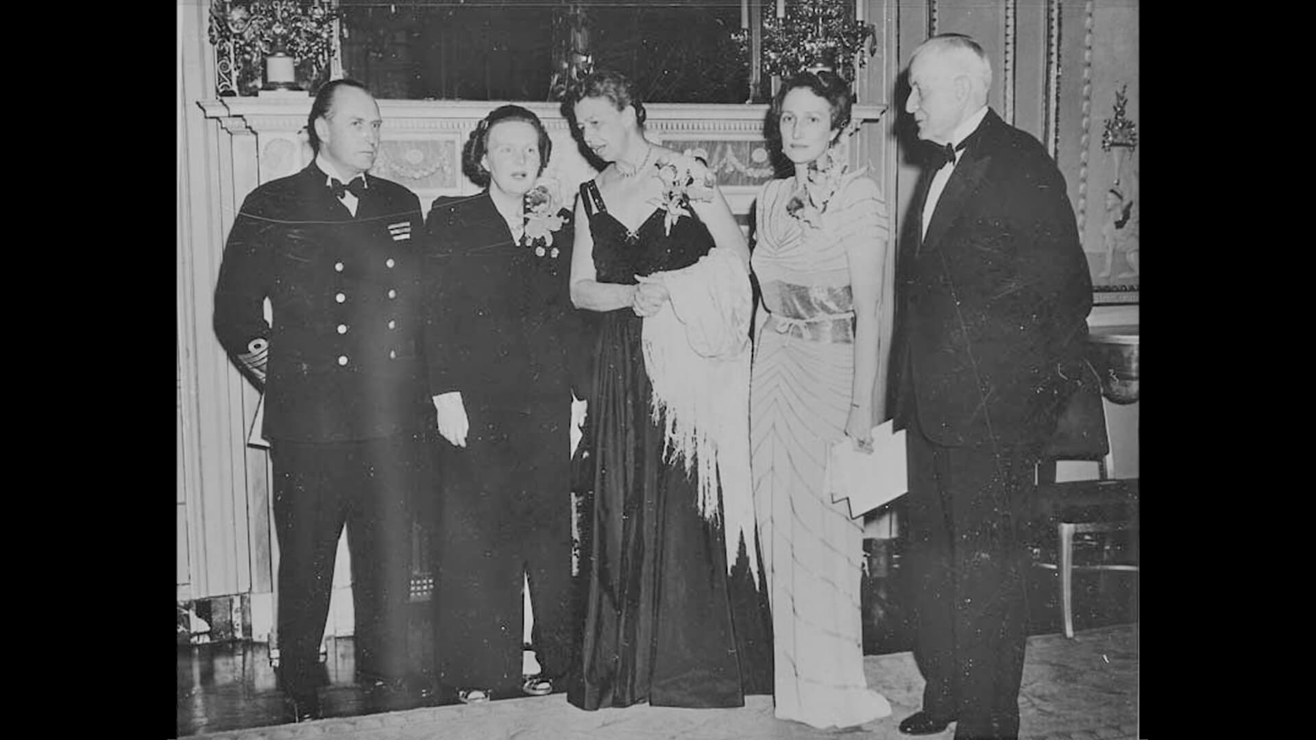 Photo of Eleanor Roosevelt and the Royal Family of Norway with Princess Juliana of the Netherlands and Thomas Watson, 1944