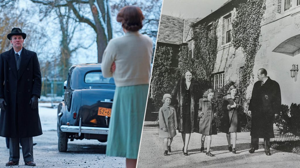 Composite image with scene from Atlantic Crossing on left (actor Tobias Santelmann as Prince Olav and actress Sophia Helin as Princess Martha) and an archival photo of Norway's royal family at their Pook's Hill home in MD during WWII.