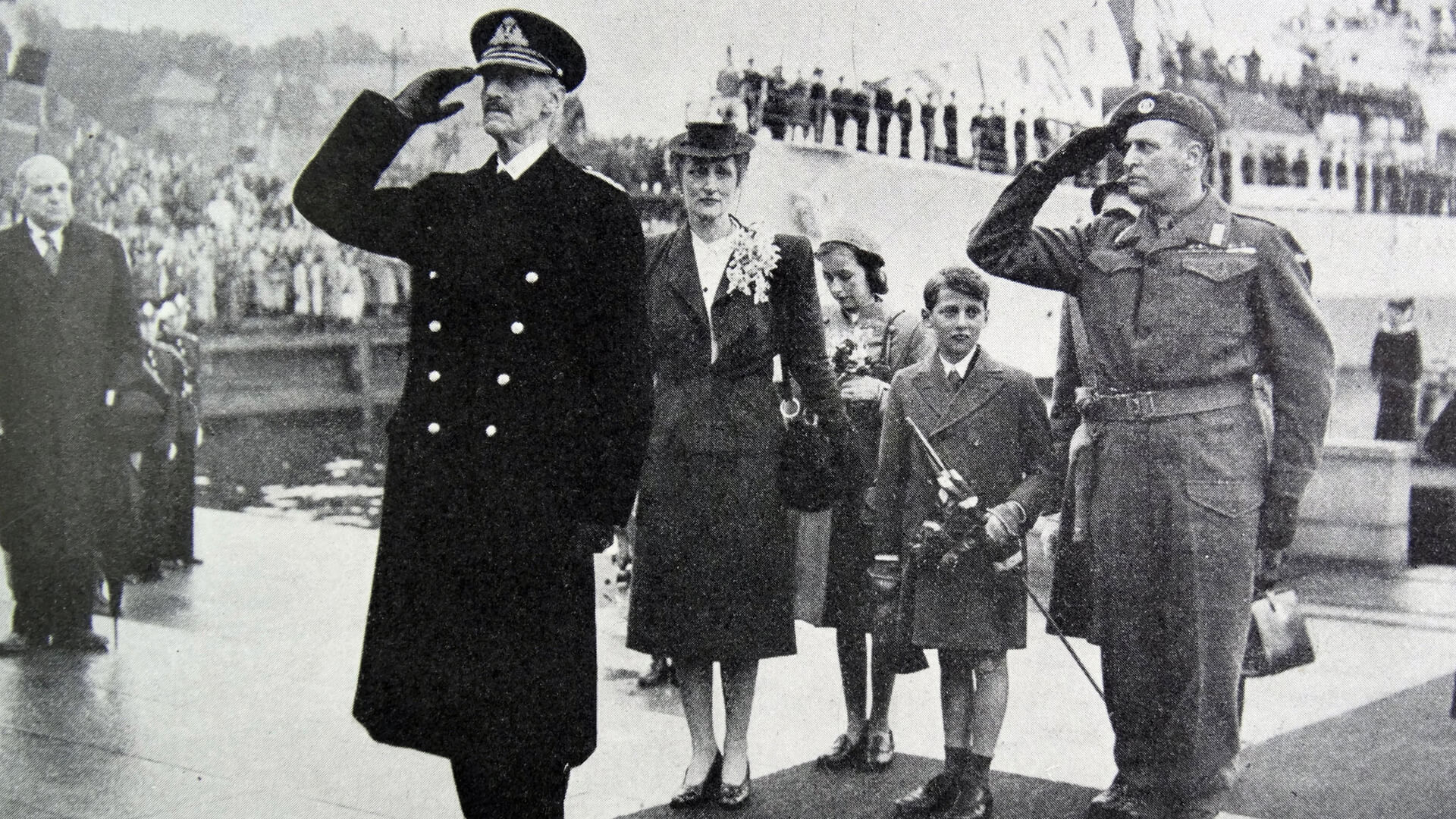 King Haakon, Crown Princess Martha, Crown Prince Olav and their children return to a liberated Norway after WW II.