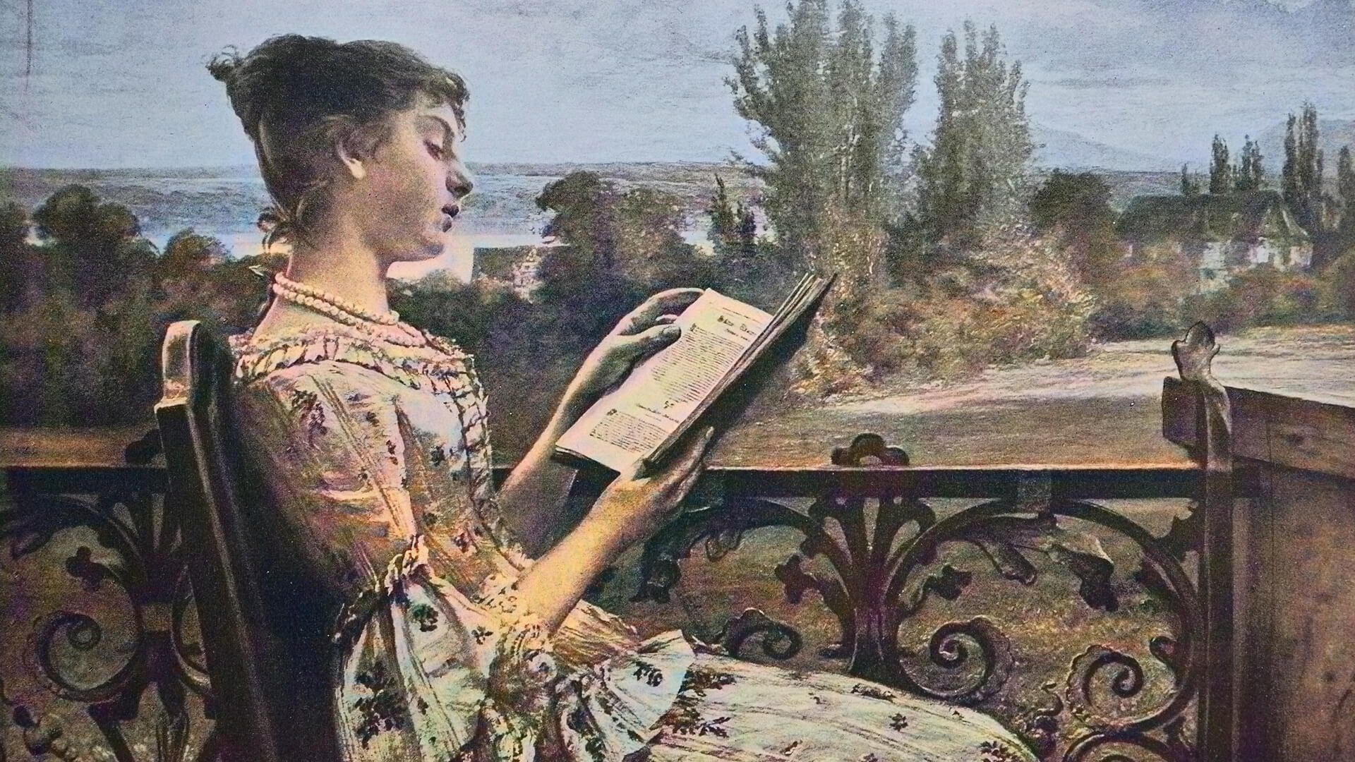 18th century print portraying a young woman reading outside.