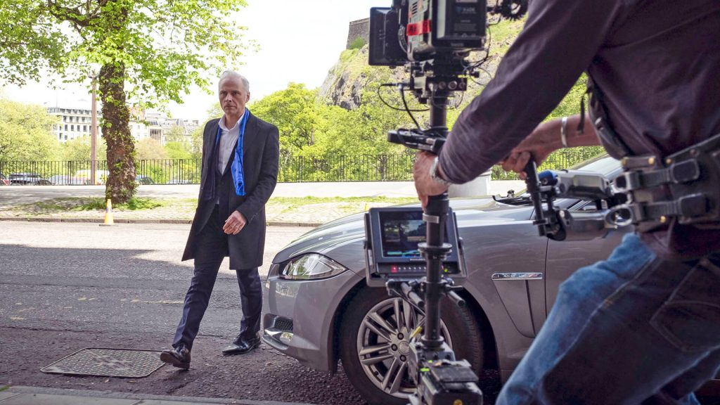 Actor Mark Bonnar behind the scenes on the set of Guilt.