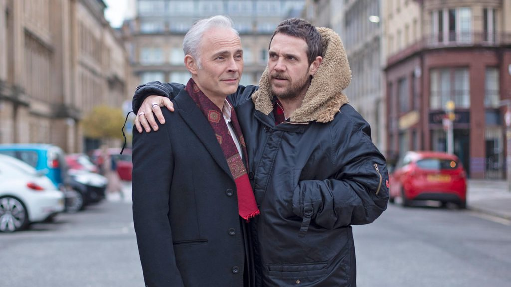 Actors Mark Bonnar and Jamie Sieves behind the scenes on the set of Guilt.