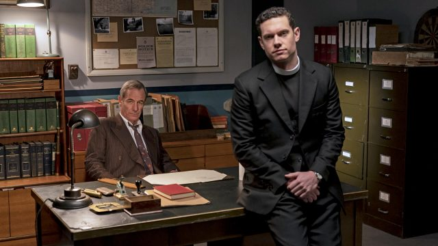 Actors Robson Greene and Tom Brittney in a scene from Grantchester Season 6.