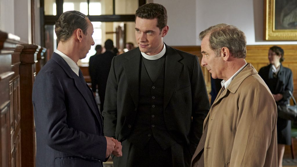 Actors Al Weaver, Tom Brittney and Robson Green in a scene from Grantchester Season 6.