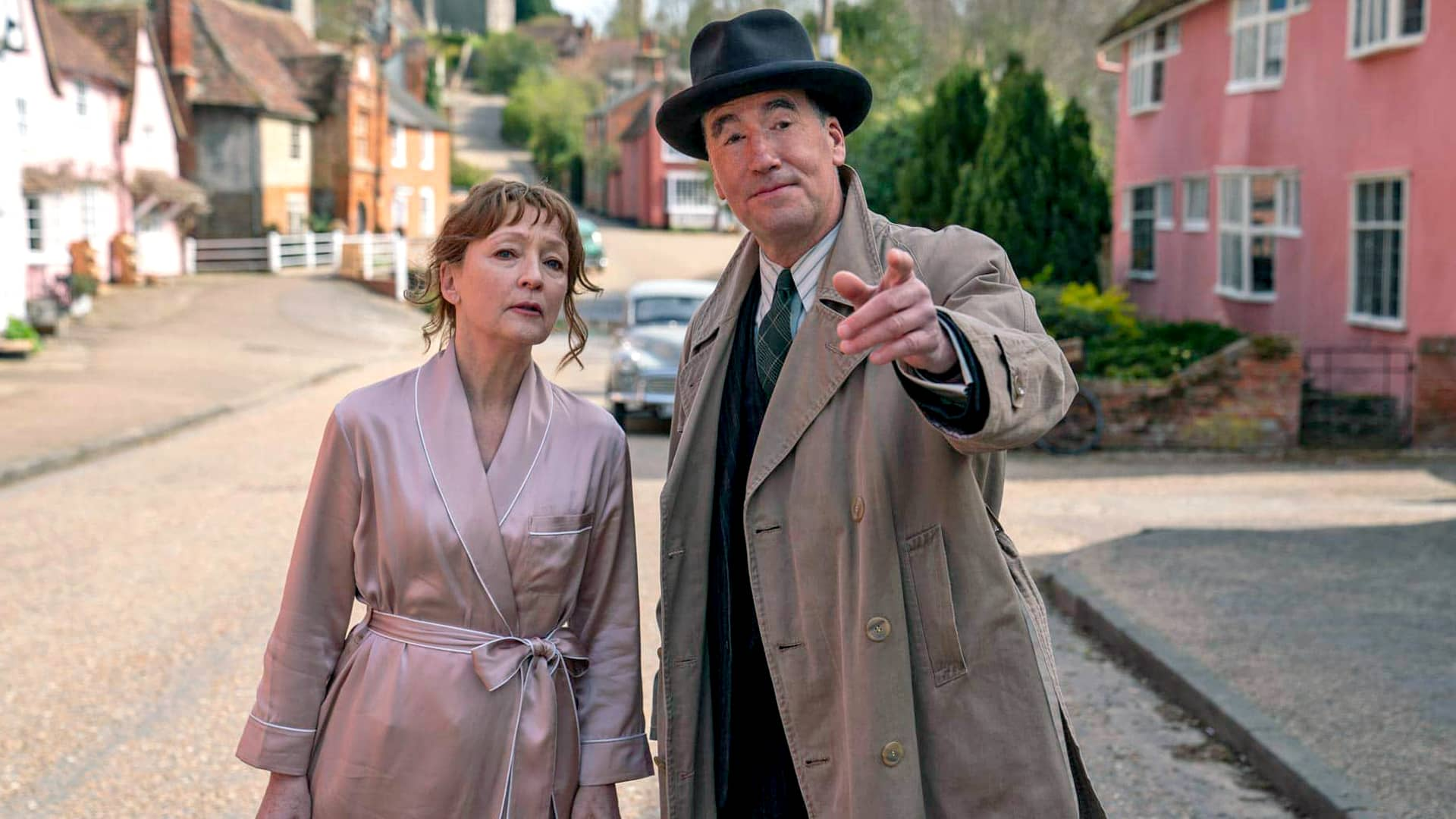 Lesley Manville and Tim McMullan in Magpie Murders