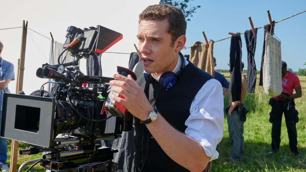 Actor Tom Brittney directing an episode of Grantchester's seventh season.