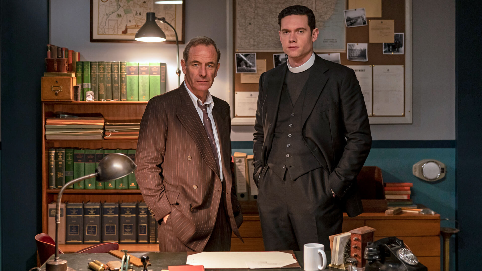 Actors Robson Green and Tom Brittney from the TV series, Grantchester
