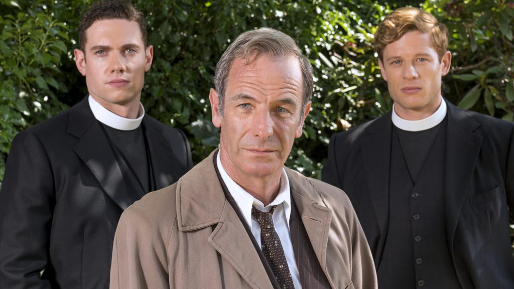 Actors Tom Brittney, Robson Green and James Norton from the TV series, Grantchester.