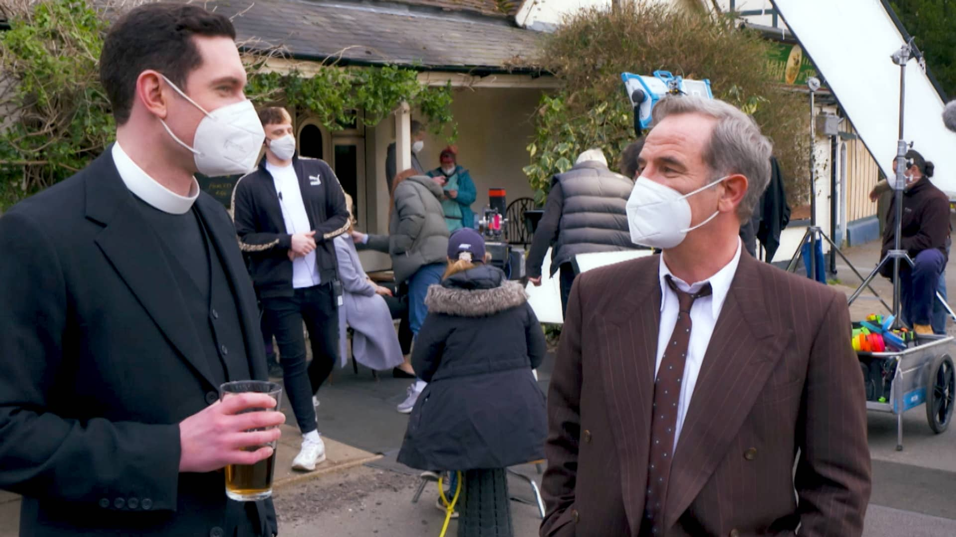 Tom Brittney and Robson Green behind the scenes