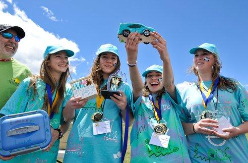 Kids celebrating at NREL Science Bowl