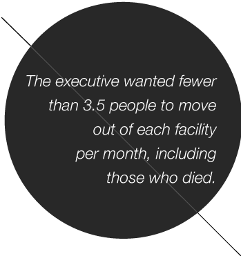The executive wanted fewer than 3.5 people to move out of each facility per month, including those who died.