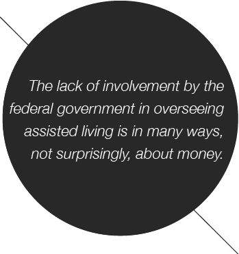 The lack of involvement by the federal government in overseeing assisted living is in many ways, not surprisingly, about money.