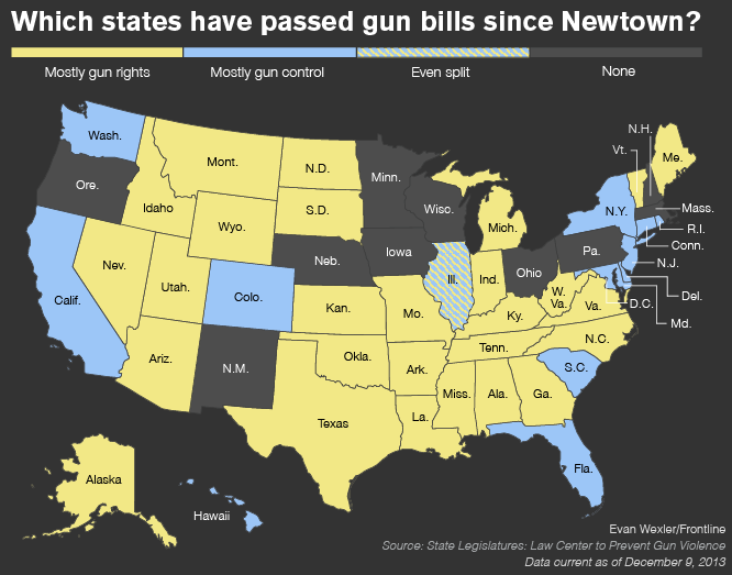 MAP: Which states have passed gun bills since Newtown?