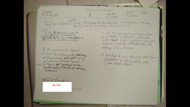 Page from Ivins' notebook