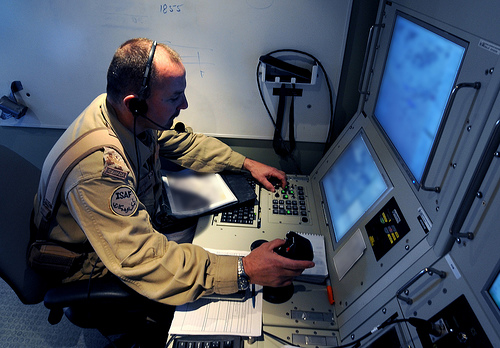 photo of a UAV pilot at work