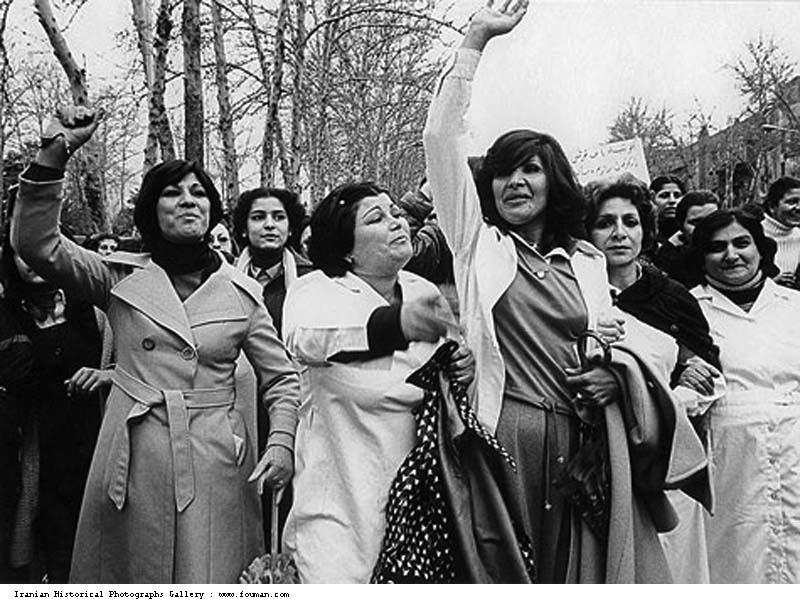 A group of Iranian women in Tehran protesting forced hijab, ...