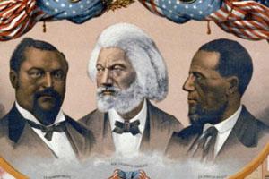 Blanche K. Bruce, Frederick Douglass, and Hiram Revels. (Loc. J Hoover 1881).