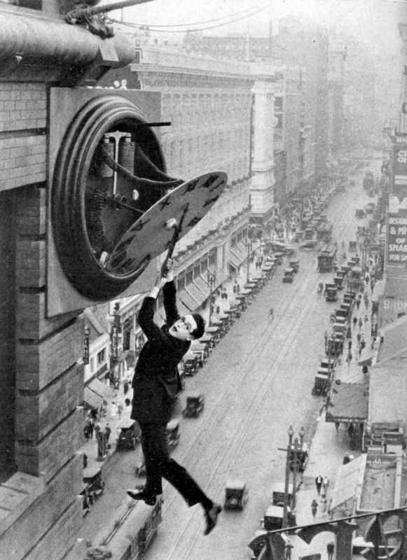Harold Lloyd in the iconic clock scene in Safety Last!