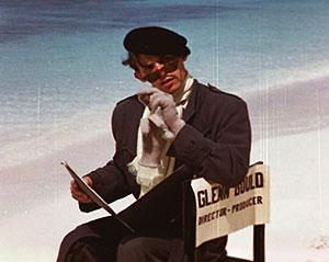 Frame from previously unseen short film Virtues of Hesitation starring Gould. Nassau, Bahamas, 1956. Credit: Jock Carroll