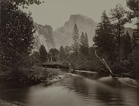 The Yosemite Valley with Half Dome in the distance, circa 1865, by Carleton E. Watkins