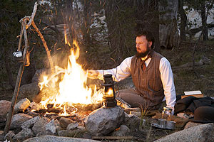 John Muir (portrayed by Joe Butler) in Yosemite. Photo by Bob Roney © Global Village Media