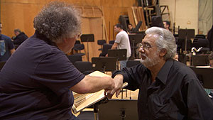 Metropolitan Opera Music Director James Levine and longtime collaborator Plácido Domingo rehearse Verdi's Simon Boccanegra.
