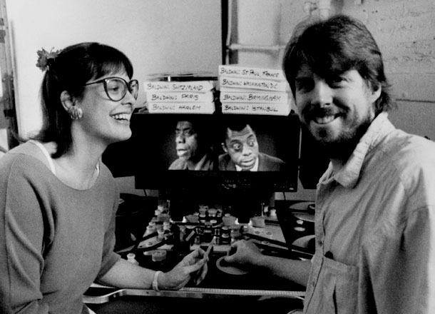 Co-Writers/Producers Karen Thorsen and Douglas K. Dempsey at work on James Baldwin: The Price of the Ticket. 16mm archival footage of Baldwin is threaded up on the Steenbeck editing machine at Maysles Films in NYC. Over 100 Separate pieces of archival material from nine different countries appear in the finished film. Photo Credit: Marcel Dumont. Copyright 1989, 2013 DKDmedia.