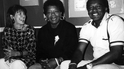 "Producer-Director Karen Thorsen and Producer William ""Bill"" Miles with Dr. Maya Angelou, project scholar-advisor and on-camera witness in James Baldwin: The Price of the Ticket. Photo Credit: DKDempsey. Copyright 1989, 2013 DKDmedia"