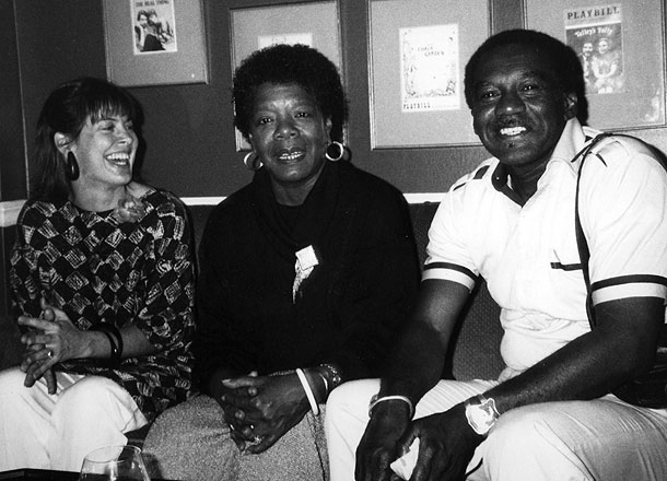 "Producer-Director Karen Thorsen and Producer William ""Bill"" Miles with Dr. Maya Angelou, project scholar-aadvisor and on-camera ""witness in James Baldwin: The Price of the Ticket. Photo Credit: DKDempsey. Copyright 1989, 2013 DKDmedia"