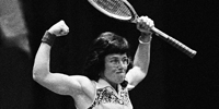 Billie Jean King reacts during a match against Betty Ann Gruob Stuart, Jan. 8, 1974. AP Photo/SJV.