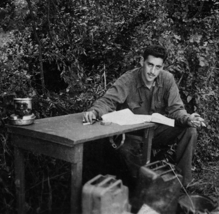 "The only photo taken during World War II of Salinger writing ""The Catcher in the Rye."" Photo courtesy of Denise Fitzgerald."