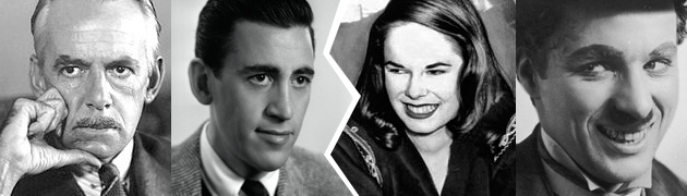 From left to right: American Master Eugene O'Neill; American Master J.D. Salinger; Oona O'Neill; American Master Charlie Chaplin