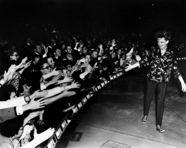 """Judy Garland at Chicago's Arie Crown Theatre, Nov. 1962. Courtesy of """"The John Fricke Collection."""" Digital image restoration by Ranse Ransone."""