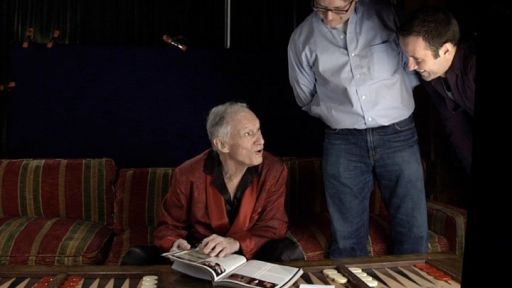 Hugh Hefner with directors Luke Poling and Tom Bean