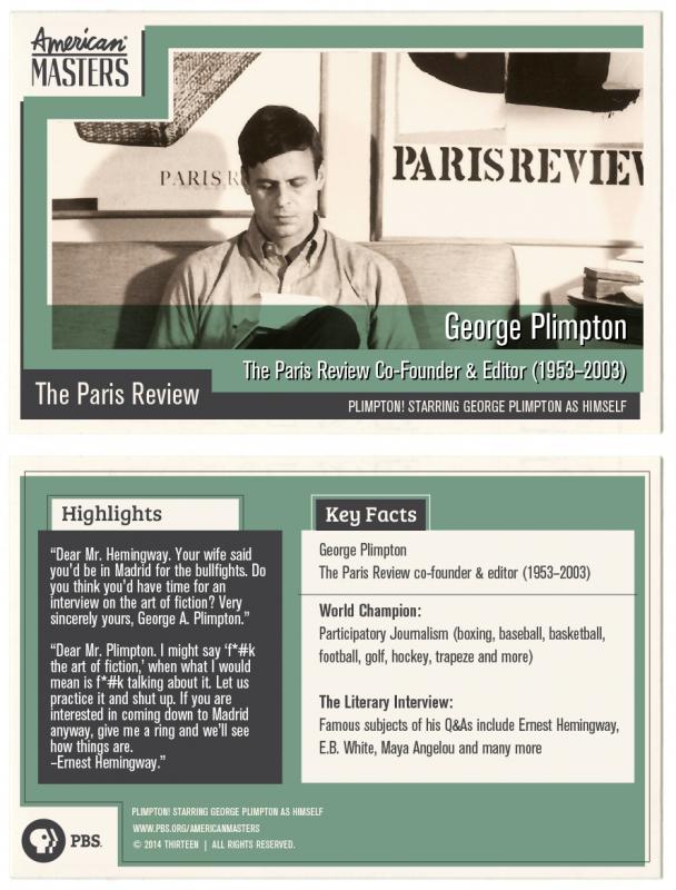George Plimpton Trading Card by American Masters