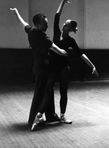 George Balanchine and Tanaquil Le Clercq in rehearsal studio. Photo courtesy August Films.