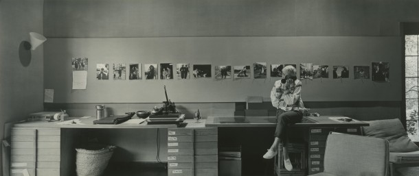 Dorothea Lange preparing for her one-woman career retrospective at New York's Museum of Modern Art (MoMA) in her home studio, Berkeley, California, 1964. Photo: ©1964, 2014 Rondal Partridge Archives