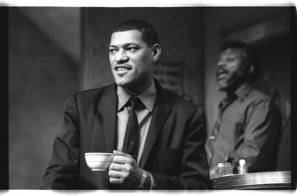 """Laurence Fishburne (left) and Al White (right) in a Seattle Repertory Theatre production of August Wilson's """"Two Trains Running."""" Photo: Chris Bennion Photography."""