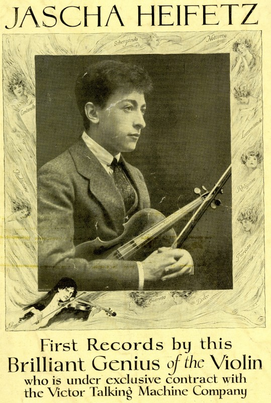 Poster for Jascha Heifetz first recording, circa 1917. Photo: Library of Congress